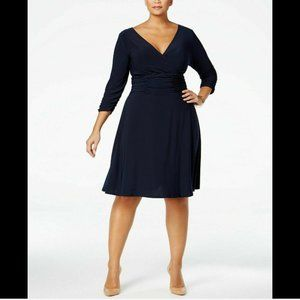 NY Collection Women's 1x Plus Ruched A-Line Dress